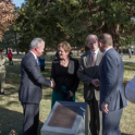 Dr Brendan Nelson greets the British High Commissioner, the Hon Menna Rawlings CMG while Prime Minister Abbott congratulates Air Marshal David Evans AC DSO AFC (Rtd), Chairman of the Magna Carta Committee of Australia, following unveiling of the commemorative plaque in Magna Carta Place.